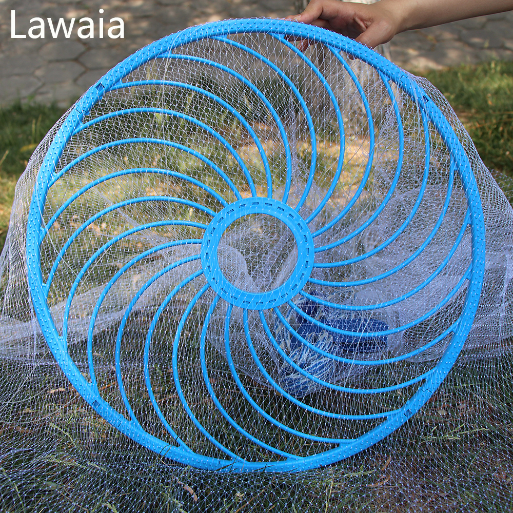 Lawaia Easy throw Cast Net Fishing Network Tool Diameter 3-7.2m American Style Fishing Net Small Mesh