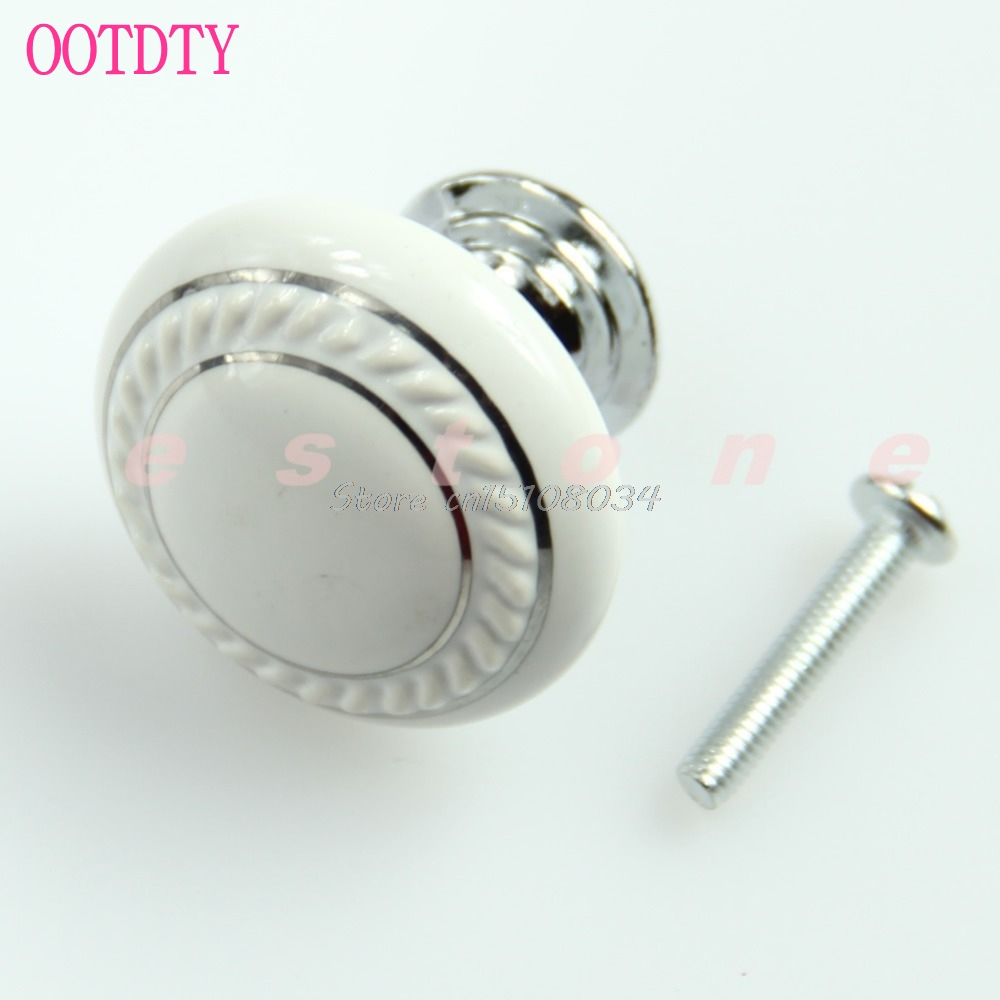 3Pcs/lot White Ceramic Crystal Glass Door Knob Drawer Cabinet Kitchen Wardrobe Handle #S018Y# High Quality bqlzr 2pcs creamy white ceramic glass door knob drawer cabinet kitchen wardrobe handle