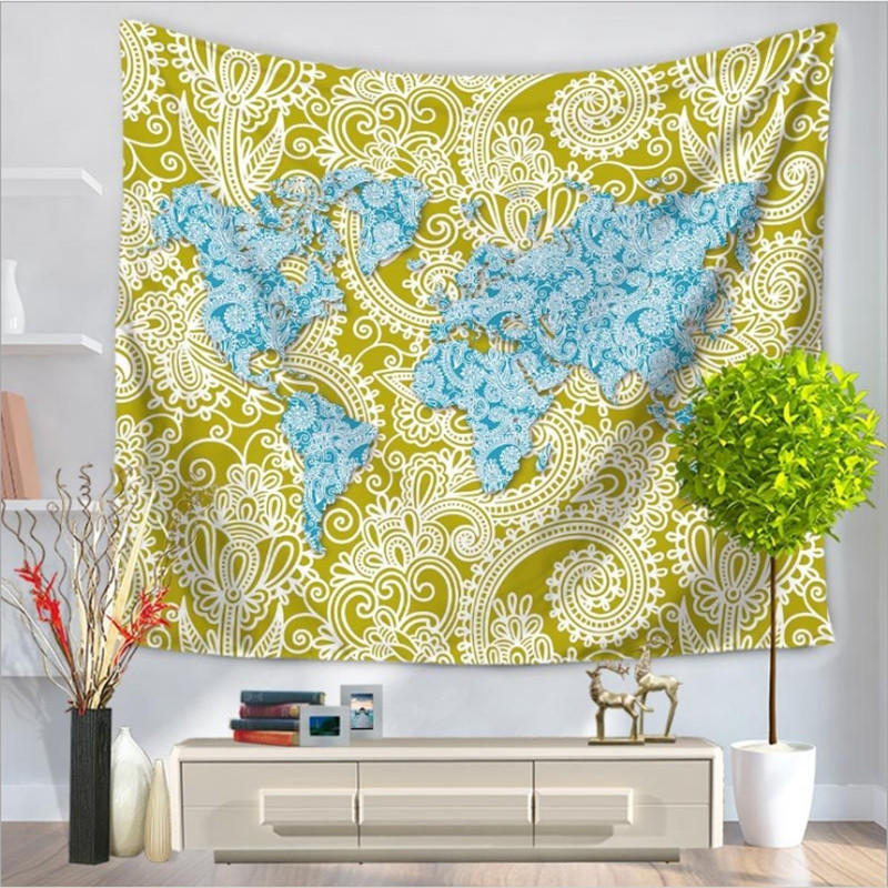 World Map Tapestry Home Decor Wall Hanging Colorful Fabric Throw ...