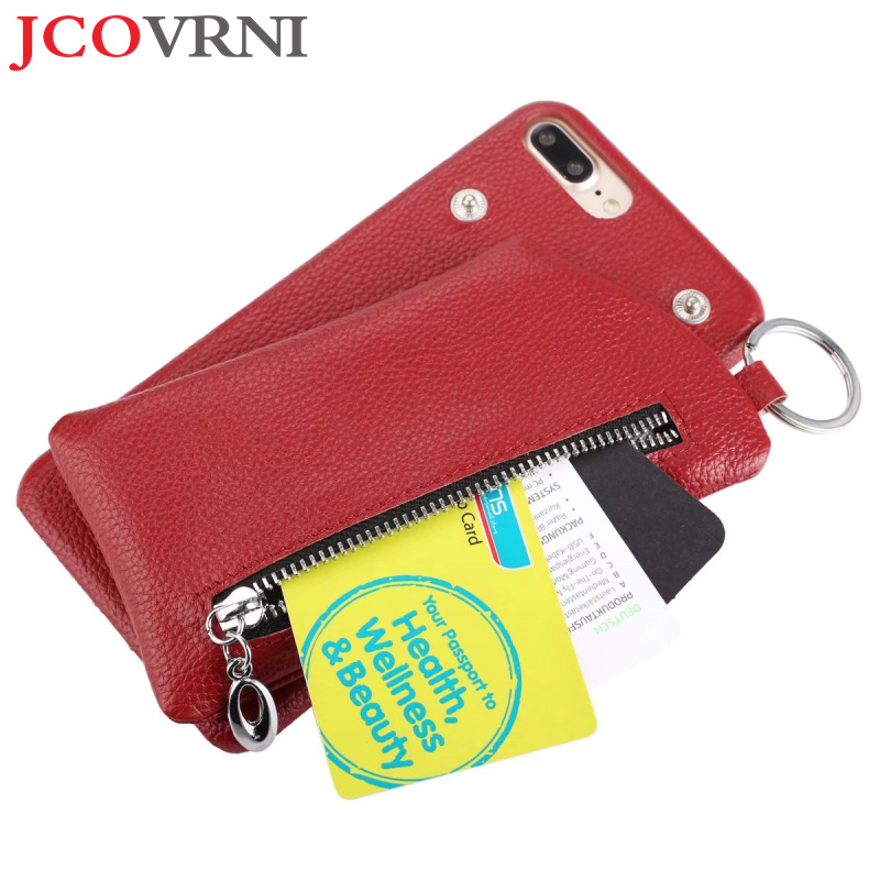 JCOVRNI Business Leather Wallet Slot Shell for iphoneXR XSMA With Ring Separation Wallet for iphone8 8plus Back Cover Phone Case