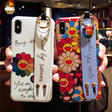 sunflower tpu case for iphone 7 8 6s 6 plus X XR XS MAX cover fashion floral wristband holder soft silicone phone bag capa