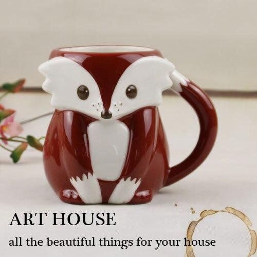 Tea coffee <font><b>mugs</b></font> <font><b>ceramic</b></font> 3D Cartoon fox milk <font><b>cup</b></font> home decor craft room decoration <font><b>porcelain</b></font> figurine animal <font><b>cup</b></font> wedding decor