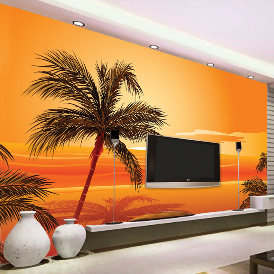 Custom 3D Photo Wallpaper Southeast Asian Style Beach Sunset Photography Background Wall Decor Living Room Wall Mural Wallpaper  free shipping southeast asian style elephant mural background wall thickened wear high quality living room bedroom wallpaper