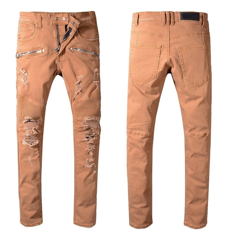 ad40d2dade82 New France Style  1059  Men s Ribbed Destroy Patches Military Stretch Moto  Pants Biker Brown