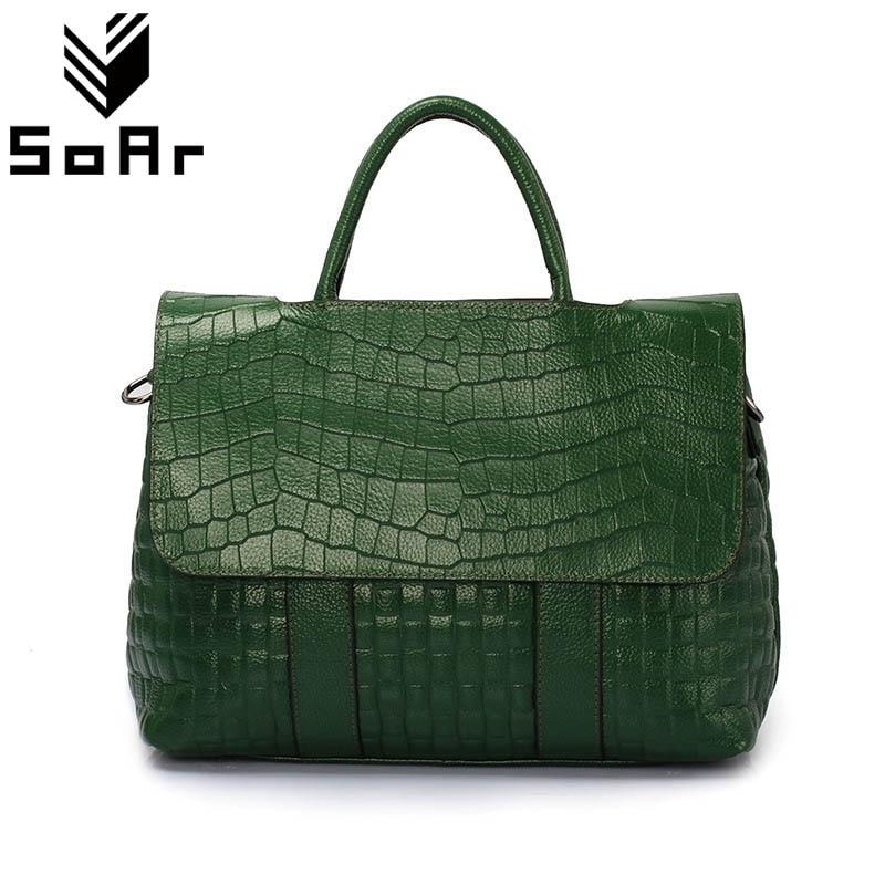패션 악어 패턴 여성 가방 정품 가죽 어깨 메신저 가방 대용량 탑 핸들 가방 핸드백 여성-에서탑 핸드백부터 수화물 & 가방 의  그룹 1