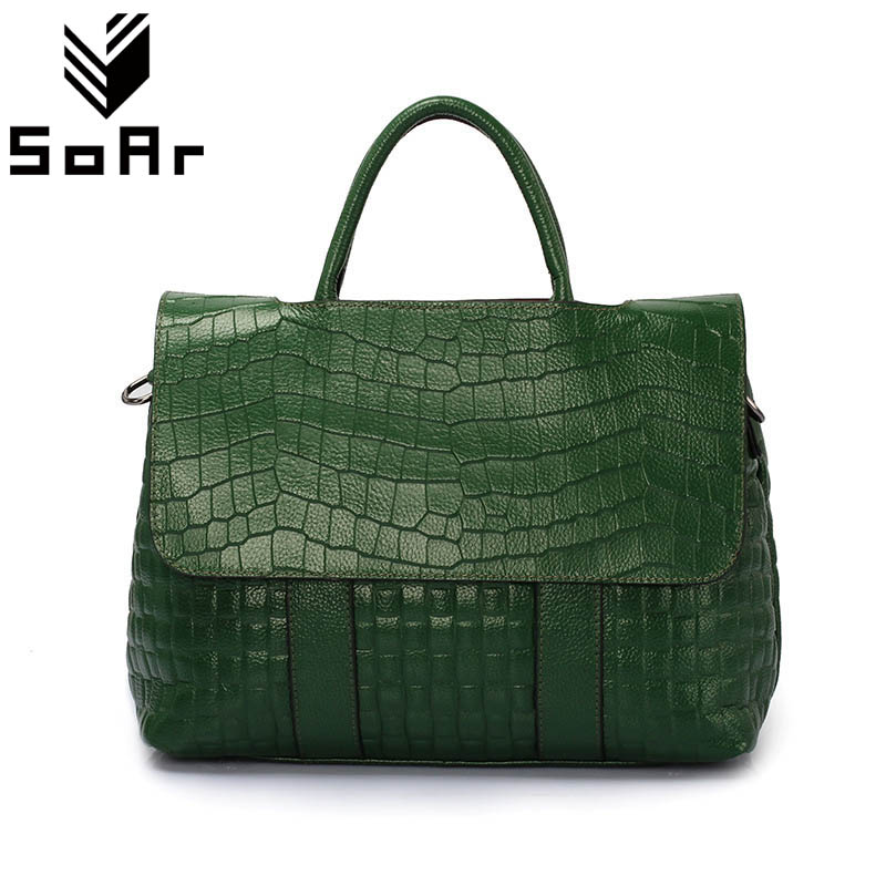 Mode Crocodile Pattern Women Bag Äkta Läder Shoulder Messenger Väskor Stor Kapacitet Top-Handle Väskor Handväskor Kvinna