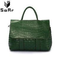 Fashion Crocodile Pattern Women Bag Genuine Leather Shoulder Messenger Bags Large Capacity Top Handle Bags Handbags Female