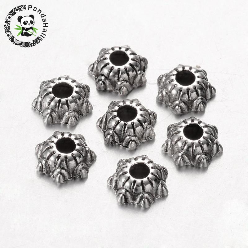 Tibetan Silver Round Spacer Beads 6x3mm Metal Flower Accessories Jewelry Finding
