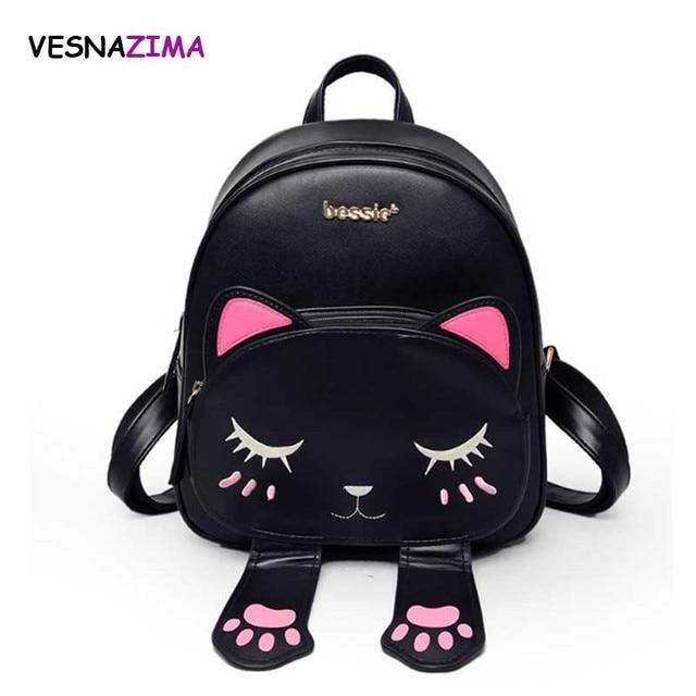 Рюкзак кошка для девочек женские рюкзаки из кожи рюкзак из искусственной  кожи школьные рюкзаки рюкзак школа dd6c294f2a7