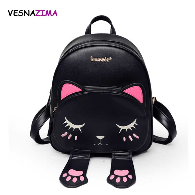 Cat Backpack Women Leather Backpacks Girl School Rugzak Black Cute High Quality Pu Travel Back Pack Brand Sac A Dos Femme Wm10z