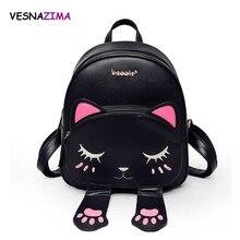 Cat Backpack Women Leather Backpacks Girl School Rugzak Black Cute High Quality Pu Travel Back Pack