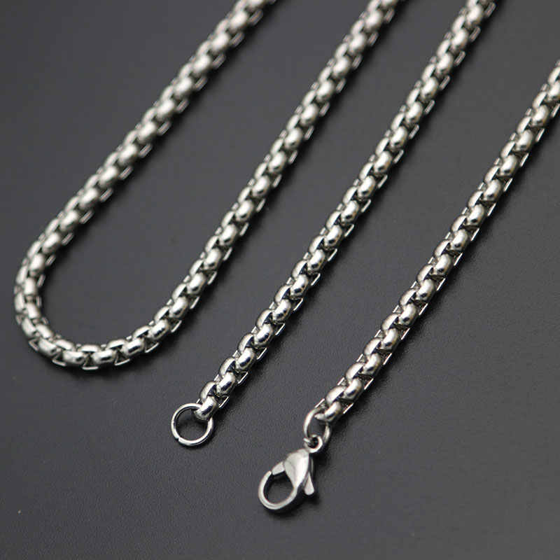 Fashion Silver Chain 2mm 3mm 2.5mm 4mm Stainless Steel box Necklace Chain For women men locket pendant