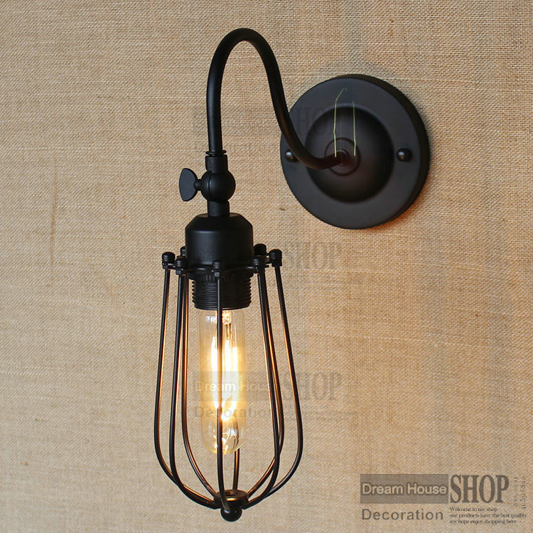 ФОТО Free shipping Loft iron small cage black shade Wall Lamp For E26/E27 RH Industrial 110V/220V Bulbs Retro Vintage lamp shade