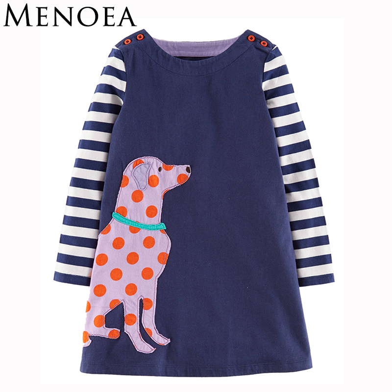 Girls Dresses 2017 New Spring Style Children Casual Character Pattern Clothes Kids Long-Sleeve O-neck Clothing Dresses