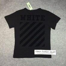 Beste version 2016 Off white ton ton schwarz beflockt logo klassische diagonalen Streifen Bereich kurzarm t-shirt t