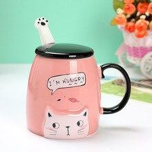 Candy Farbe Nette Katze Keramik Becher Mit Deckel Und Katze klaue Löffel Cartoon Kreative Kaffee Milch Tee Bauch Tassen Neuheit geschenke