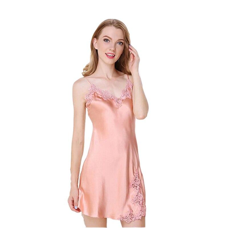 Chemise de nuit robe de nuit vêtements de nuit femmes Mini 16 Momme 100% Pure soie col en V Sexy Lingerie pijama mujer robe de nuit