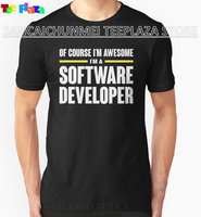 Teeplaza Custom Shirt Design Printing Machine O-Neck Short-Sleeve Software Developer Is Awesome T Shirts For Men