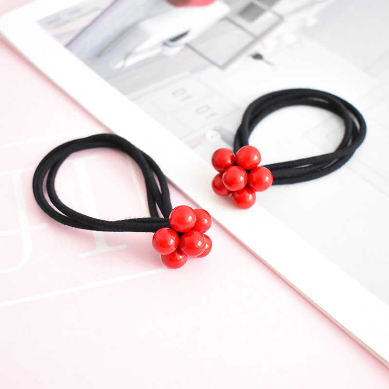 Newest Hot Sale Korean 1PC Red Beads three-in-one knot Elastic High Quality Hair band Women Girls Hair Rope Hair Accessories