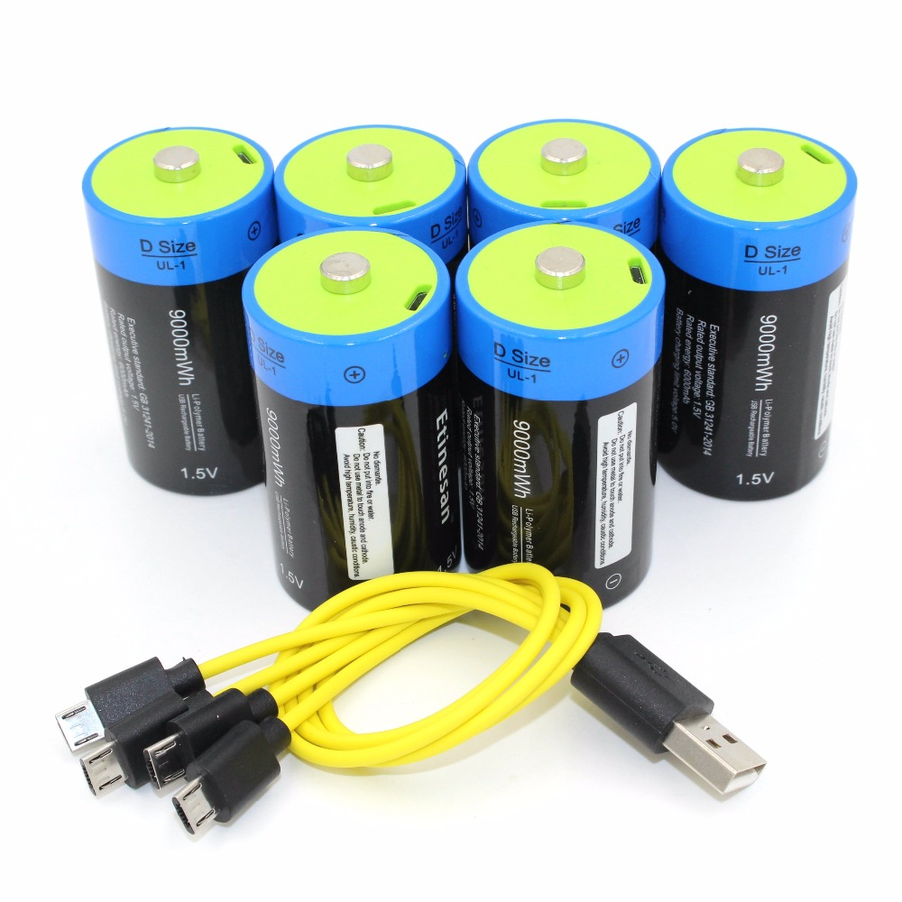 6 pcs Etinesan 1.5 v li-polymère 9000mWh D taille rechargeable D batterie D type + USB câble de recharge