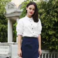 Veri Gude Summer Style Women Puff Sleeve Blouse White Shirt Short Sleeve Cotton Tops