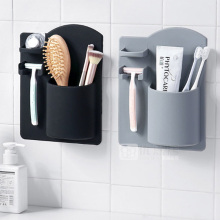 1 Pcs Creative Bathroom Wall-mounted Toothbrush Holder Toothpaste Rack Plastic Home Organizer Tools