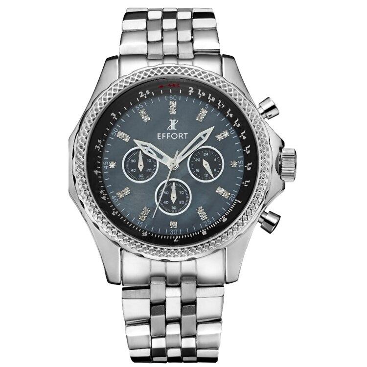 ФОТО EFFORT Chronograp Full Stainless Steel Shell Business Watch Quartz Luxury Sport Watch Men Brand Whatch relogio masculino EF.2003