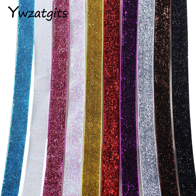 ywzatgits 5/8 15-16mm Multi color option Polyester Glitter Velvet Ribbons DIY Paking and Decoration 5yard/10yard 040006007