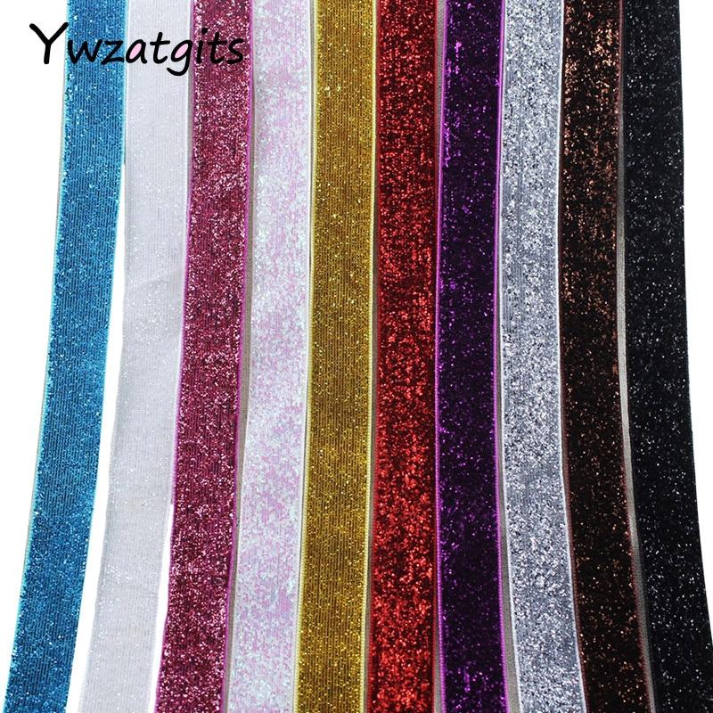ywzatgits 5/8 15-16mm Multi color option Polyester Glitter Velvet Ribbons DIY Paking and Decoration 5yard/10yard 040006007