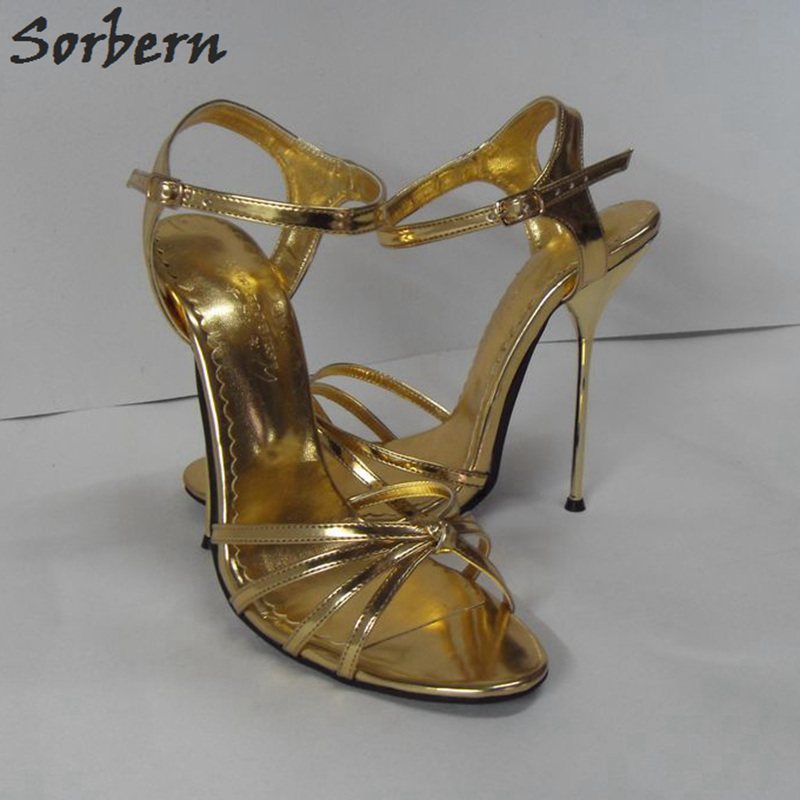 Sorbern Sexy 14Cm Thin Metal High Heel Sandals Golden Sandals For Women Chinese Size 33-52 Unisex Shoes Ladies Summer Shoes sorbern 18cm 22cm ultra thin high heel women sandals summer shoes for ladies thick platforms cross tied sandals custom color