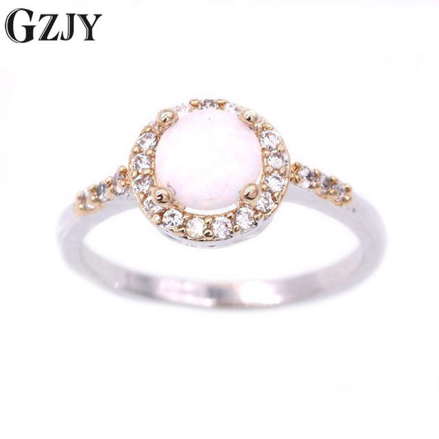 Gzjy Beautiful Simple Round Charm White Fire Opal Zircon Double Gold