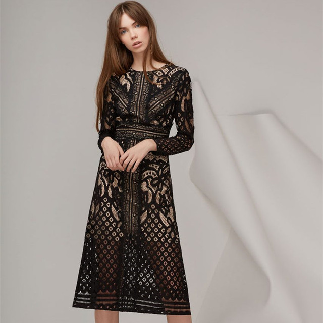 519afba55f 2018 Fall Elegant Designer Runway Lace Dress Summer Women Round Neck Long  Sleeve Hollow Out Vintage Sexy Party Casual Dress