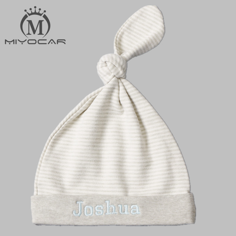 MIYOCAR Personalised Any name very soft full cotton baby hat colorful cotton infant hat baby birthday gift baby shower gift