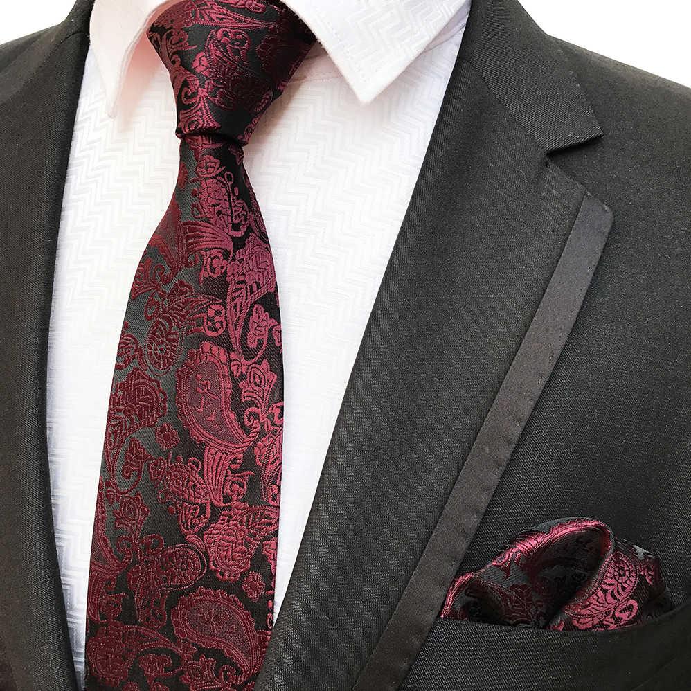 55124fb6013c 8cm Burgundy Wine Color Paisley Necktie Set with Woven Pocket Square to  Match Suits