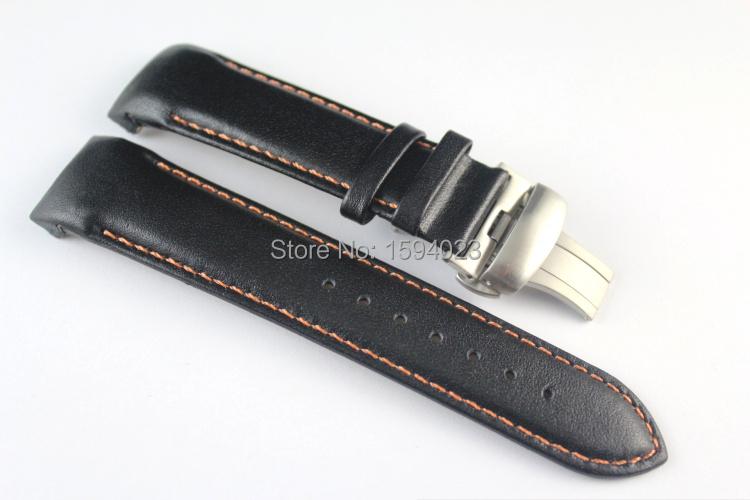 Prix pour 22mm T035407 T035410 Haute Qualité Argent Papillon Boucle Orange Piqué Noir Lisse Véritable Bracelet En Cuir Pour T035 Bretelles