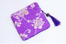 High End Tassel Rectangle Zippered Bags Christmas Party Favor China style Silk brocade Purse Gift Pouches 5pcs/lot mix color