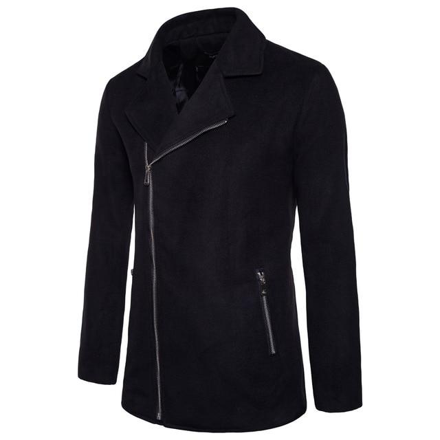 Laamei Brand Winter Autumn Turn Down Collar Zipper Pocket Jacket Solid Long Sleeve Coat Fashion Woolen Blends Jacket Coat 1