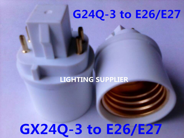 5pcs G24Q-3 to E26/E27 LED socket adapter G24Q-E26/E27 Converter GX24Q to E26/E27 Extender 4Pin GX24Q-E26/E27 base lamp holder
