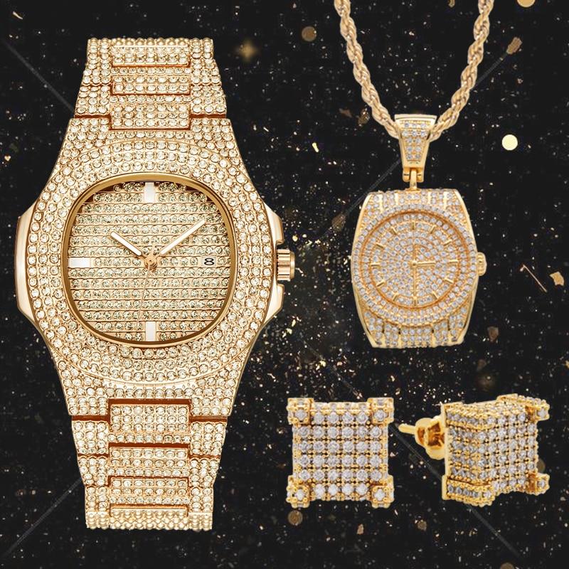 Lureen Hip Hop 3 pièces complet cubique zircone Quartz montre pendentif collier glacé boucle d'oreille hommes Combo ensemble bijoux fête cadeau W0001