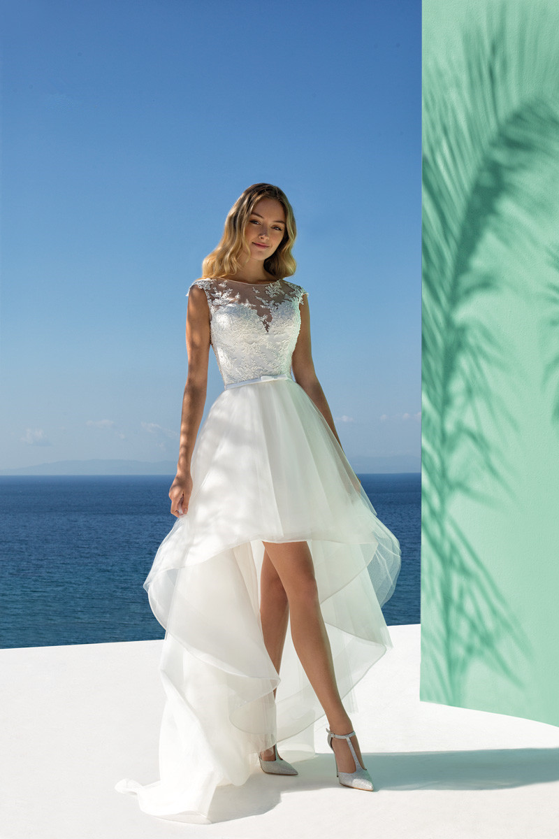 New Tulle Lace Short Wedding Dress for Bride Button High Low vestido de noiva boho Cap
