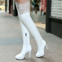 Original Intention Women Boots Sexy Thigh High Boots Platform Thin Heels Shoes Woman Over the Knee Boots White Black
