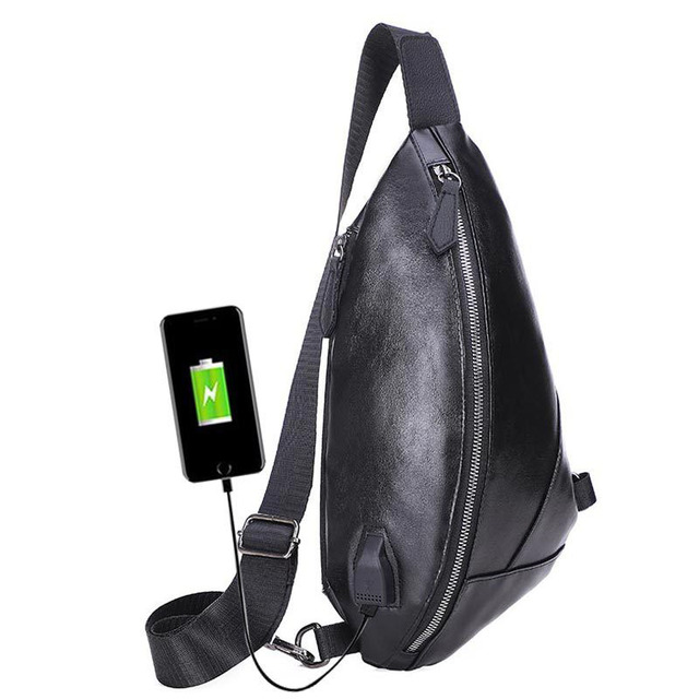 New Personality Waterproof Brand men's Chest bag multi-function PU Casual Bag Fashion Outdoor Slung USB Charging Male Chest Bag