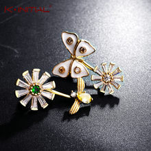 Kinitial Fashion Charm Zircon Crystal Bee Flower Butterfly Earrings for Girls Women Wedding Gold Ear Cuff Jewelry Accessories(China)