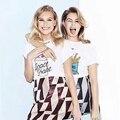 Tee Estilo Harajuku 2017 Moda Primavera Verão Impressão De Algodão Mulheres Camiseta Milkshake de Batatas Fritas Kawaii Mulheres Tshirt Encabeça