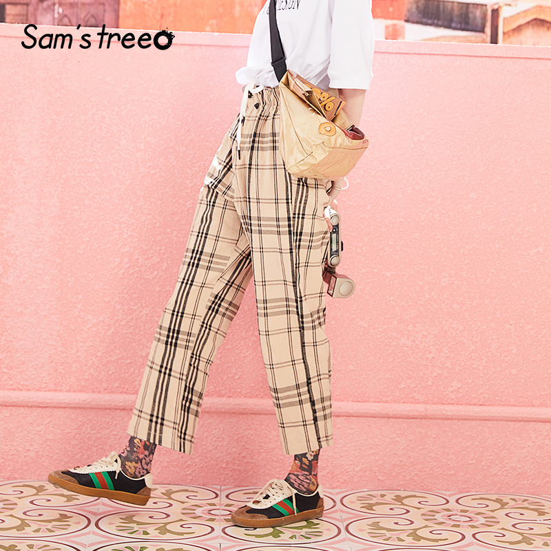 Samstree Women Plaid Cargo   Pants   and   Capris   Cotton England Style Elastic Waist and Zipper Full Trousers High Waist Long   Pants