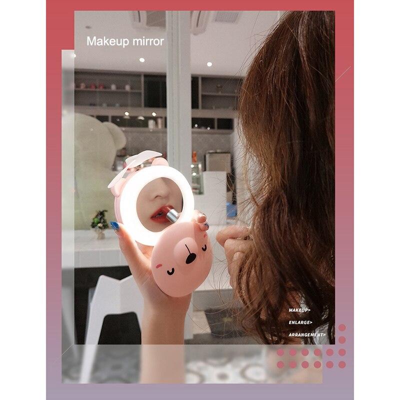 2019 High Quality LED Fill Light Makeup Mirror Pocket Fan USB Charging Portable Handheld Mini Fan KG66