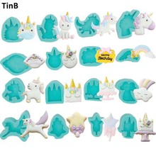 ФОТО 2018 unicorn mold silicone mold fondant cake decorating tools unicornio mould silicone form birthday party chocolate gumpaste