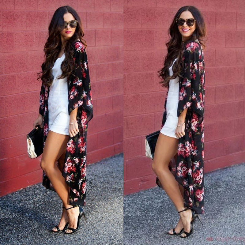 Summer Women Boho Chiffon Floral Print Shawl Kimono Cardigan Beach Cover Up   Blouse     Shirt   Tops