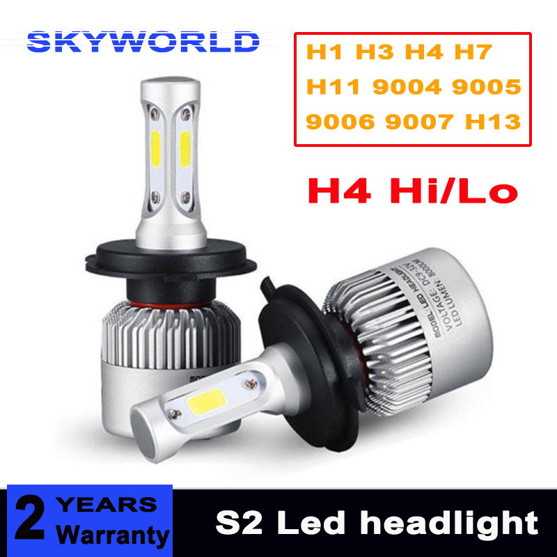 H1 H3 H4 H7 9005 9006 HB3 HB4 9007 H13 72W 8000LM Car COB LED Headlight Kit Hi/Lo Beam Bulbs 6500K WHITE LIGHT 12V 2pcs led headlight 72w kit 16000lm kit h4 high low beam h7 9005 9006 hb4 cob s2 auto car light all in one automobile lamp 6500k