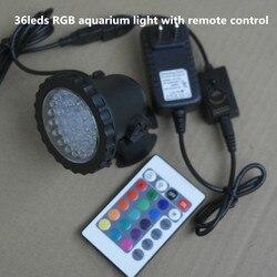 36leds RGB impermeable IP68 fountain pool lámpara 3,5 W acuario pecera luz para piscina estanque luz con control remoto